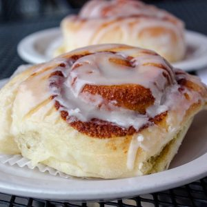 Cinnamon roll at the Clock Tower Bakery